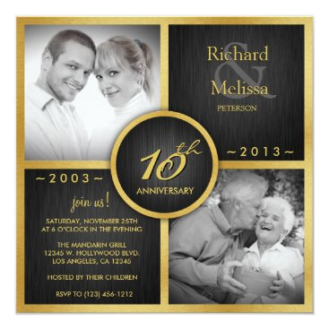 Elegant Black and Gold 10th Wedding Anniversary Invitation