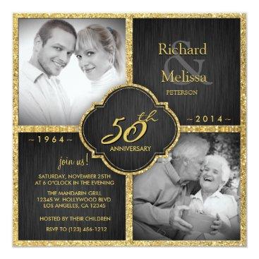Elegant Black and Gold 50th Wedding Anniversary Card