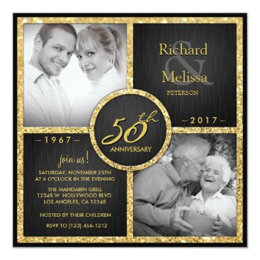Elegant Black and Gold 50th Wedding Anniversary Card
