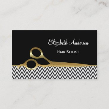 Elegant Black and Gold Chevrons Hair Salon Business Card