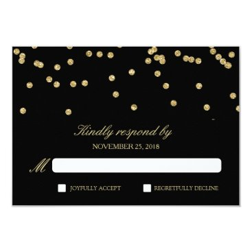 Elegant Black and Gold Confetti Polka-Dots RSVP Card
