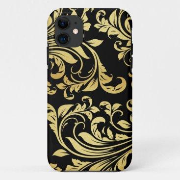 Elegant Black and Gold Damask floral pattern iPhone 11 Case