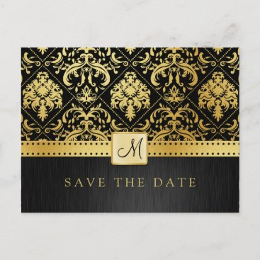 Elegant Black and Gold Damask Save the Date Announcement Postcard