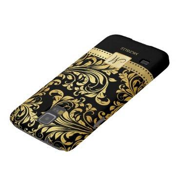 Elegant Black and Gold Damask wiht Monogram Galaxy S5 Case