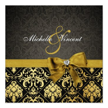 Elegant Black and Gold Damask with heart diamond Invitation