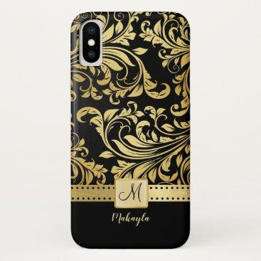 Elegant Black and Gold Damask with Monogram iPhone XS Case
