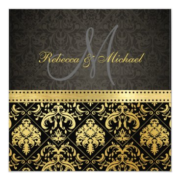 Elegant Black and Gold Damask with Monogram Invitation