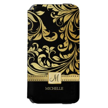 Elegant Black and Gold Damask with Monogram iPhone 6/6s Wallet Case