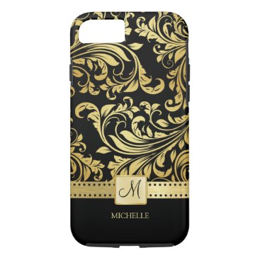 Elegant Black and Gold Damask with Monogram iPhone 7 Case
