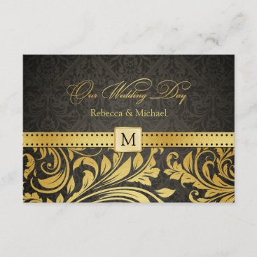 Elegant Black and Gold Damask with Monogram RSVP