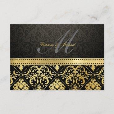 Elegant Black and Gold Damask with Monogram RSVP