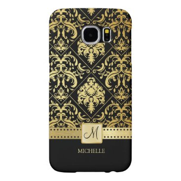 Elegant Black and Gold Damask with Monogram Samsung Galaxy S6 Case
