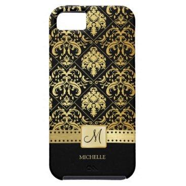 Elegant Black and Gold Damask witth Monogram iPhone SE/5/5s Case