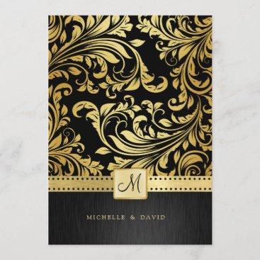 Elegant Black and Gold Floral Damask Invitation