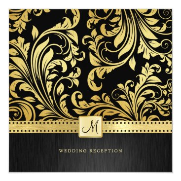 Elegant Black and Gold Floral Damask Reception Invitation