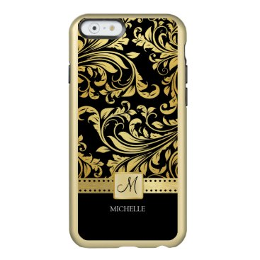 Elegant black and gold floral damask with monogram incipio feather shine iPhone 6 case