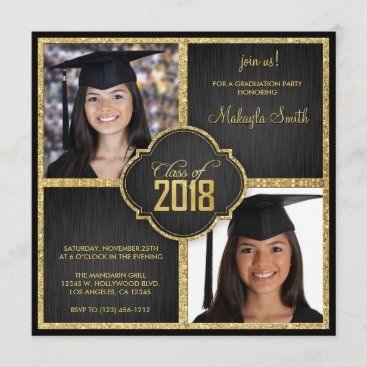 Elegant Black and Gold Glitter Class of 2018 Photo Invitation