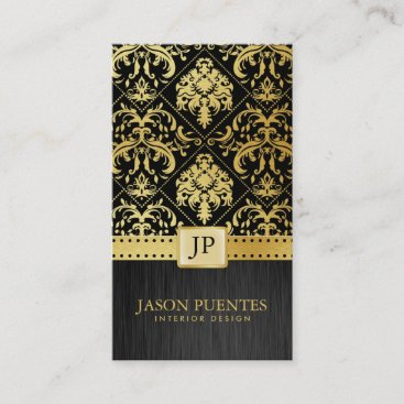 Elegant Black and Gold Interior Designer Business Card