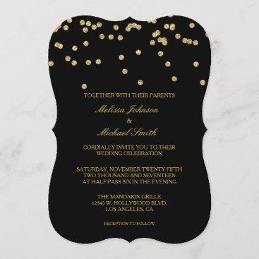 Elegant Black and Gold Polka-dots Confetti Wedding Invitation