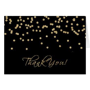 Elegant Black and Gold Polka-Dots Thank You!
