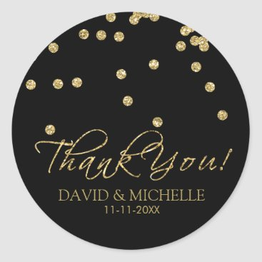 Elegant Black and Gold Polka-Dots Thank You! Classic Round Sticker