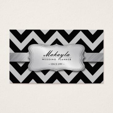 Elegant Black and Gray Chevron Pattern Business Card