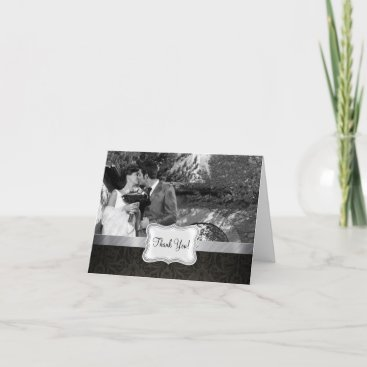 Elegant Black and Gray Damask Thank You Card