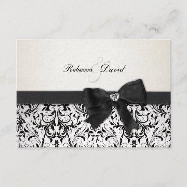 Elegant Black and Ivory Damask with diamond RSVP