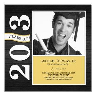 Elegant Black and White Class of 2013 Graduation Custom Invitations