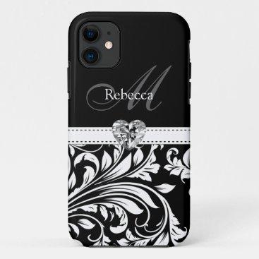 Elegant Black and White Damask iPhone 11 Case