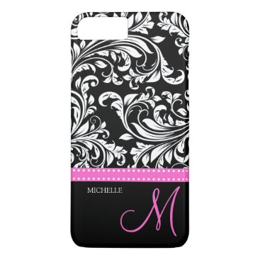 Elegant black and white Damask with Pink monogram iPhone 7 Plus Case