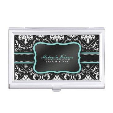 Elegant Black and White Damask with Teal Blue Business Card Holder
