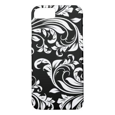 Elegant Black and white floral damask iPhone 8/7 Case