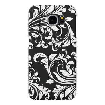 Elegant Black and white floral damask Samsung Galaxy S6 Case