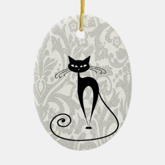 Retro Black Cat Ornament
