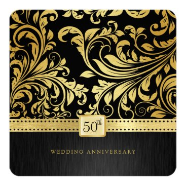 Elegant Black & Gold 50th Wedding Anniversary Invitation