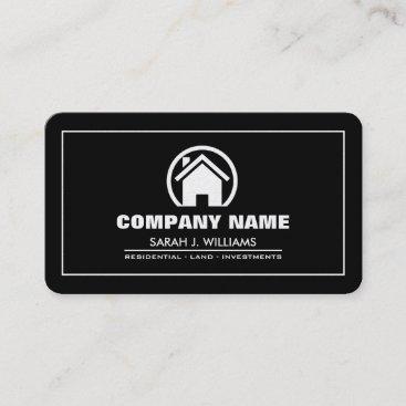 Elegant Black & Gold Professional Real Estate Business Card