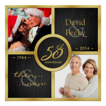 Elegant black & gold then and now 50th anniversary poster