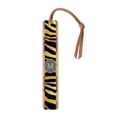 Elegant Black & Gold zebra stripes with monogram Bookmark
