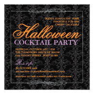 Elegant Black Lace Halloween Cocktail Party Announcements