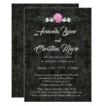 Elegant Black Marble Peony Wedding Invitation
