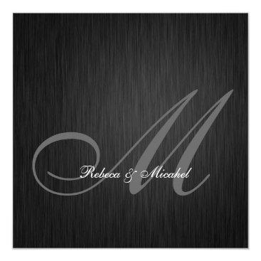 Elegant Black Monogram Wedding Invitation