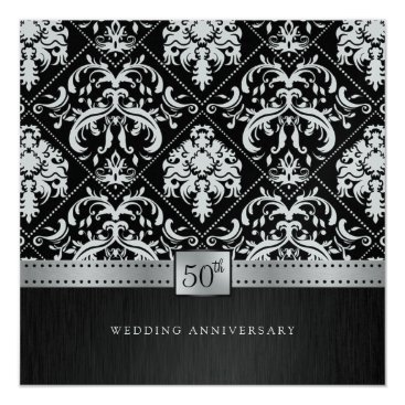 Elegant Black & Platinum 50th Wedding Anniversary Invitation