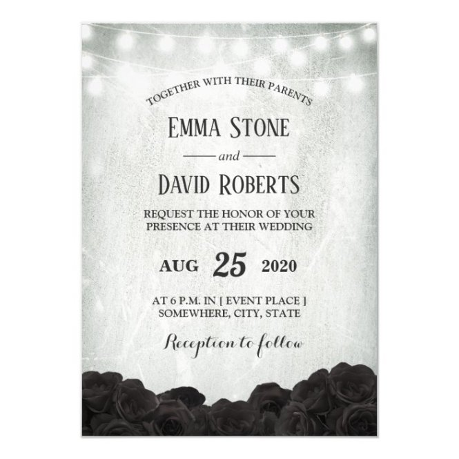 String Lights Fl Wedding Invitation
