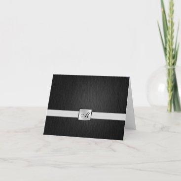 Elegant Black / Silver Monogram Thank You Card