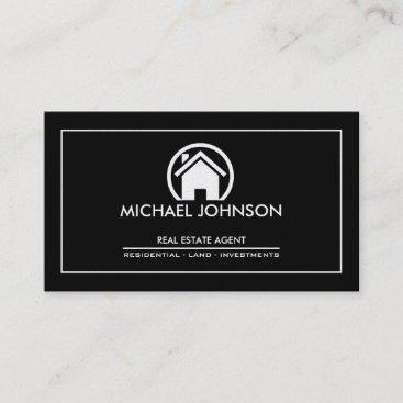 Elegant Black & Silver Professional Real Estate Business Card