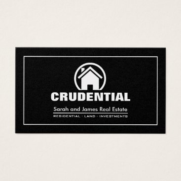 Elegant Black & Silver Professional Real Estate Business Card
