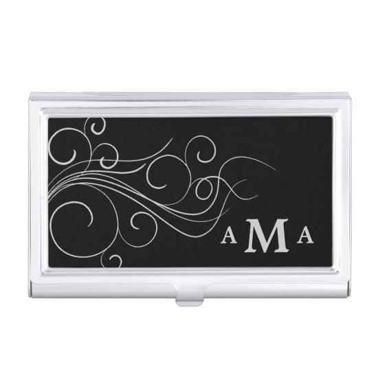 Elegant Black Silver Swirl Monogram Business Card Holder