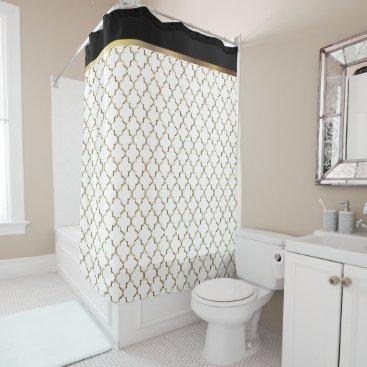Elegant Black, White and Gold Quatrefoil Patterns Shower Curtain