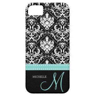 Elegant Black & White Damask Pattern with Monogram iPhone SE/5/5s Case